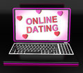 Online dating message on laptop shows romancing and web love showing Stock Photos