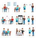 Online dating set, people finding love using dating websites and app on smartphones and computers vector Illustrations