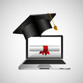 Online education concept certificate diploma icon