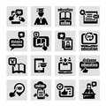Online education concept icons set elegant Royalty Free Stock Photography