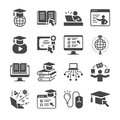 Online education icon set. Included the icons as graduated, books, student, course, school and more Royalty Free Stock Photo