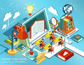 Online education Isometric flat design. The concept of learning and reading books in the library and in the classroom. University