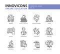 Online education line design icons set