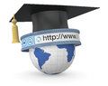 Online education one academic hat or mortarboard with a globe and a web address bar concept of school d render Stock Photos