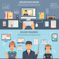 Online Education Training Banner Set Royalty Free Stock Photo
