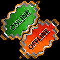Online en off-line pictogram Royalty-vrije Stock Foto