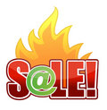 Online Fire Sale text illustration Royalty Free Stock Photography