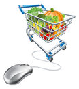 Online grocery shopping concept of a computermouse connected to a cart trolley full of health vegetables Stock Photo