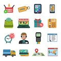 Online icons flat shopping commerce and marketing set isolated vector illustration Stock Photography