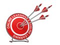 Online learning education concept distance three arrows hitting the center of a red target where is written Stock Photo