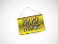 Online learning hanging banner illustration design over white Royalty Free Stock Photography