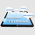 Online learning with tablet d speech bubbles and words education network www virtual lesson Stock Photos