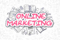 Online Marketing - Doodle Magenta Text. Business Concept. Royalty Free Stock Photo