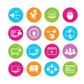 Online marketing icons and promotion in colorful round buttons Royalty Free Stock Photography