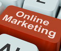 Online marketing key shows web emarketing showing and sales Stock Photography