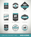 Online marketing labels and badges with icons quality Royalty Free Stock Images