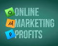 Online marketing profits and posts on a blackboard Stock Image