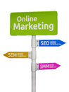 Online marketing road sign pointing to seo sem and smm concept Royalty Free Stock Photos