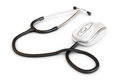 Online medical stethoscope attached to a computer mouse Stock Photos