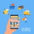 Online mobile shopping concept. Vector illustration in flat style design. Payment on internet. Royalty Free Stock Photo