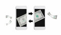 Online money transfer by internet on mobile Royalty Free Stock Photo