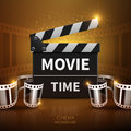 Online movie and television vector background with cinema clapper and film roll Royalty Free Stock Photo