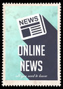 Online News on Blue in Flat Design. Royalty Free Stock Image