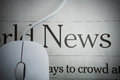 Online news computer mouse newspaper Royalty Free Stock Images