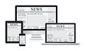 Online news vector illustration concept computer tablet newspaper Royalty Free Stock Photo