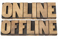 Online and offline words internet concept isolated text in letterpress wood type Royalty Free Stock Photography