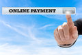 Online payment written in search bar on virtual screen Royalty Free Stock Photos