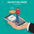 Online pizza. Ecommerce concept - order food online website. Fast food pizza delivery online  service. Flat 3d isometric Royalty Free Stock Photo