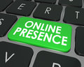 Online presence website visibility search engine optimization se words on a computer keyboard key or button to illustrate good on Royalty Free Stock Images
