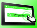 Online property means world wide web and house showing real estate Royalty Free Stock Photo