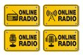 Online radio - rectangle yellow signs Stock Image