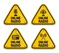 Online radio triangle signs Royalty Free Stock Photos