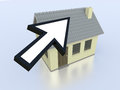 Online real estate one house with an arrow cursor concept of on the web d render Stock Photography