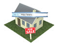 Online real estate one house with a web address bar and a signboard with text for sale concept of on the web d render Stock Photography