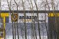 Online retailer company Amazon fulfillment logistics building on March 12, 2017 in Dobroviz, Czech republic Royalty Free Stock Photo