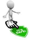 Online safety and web internet security little d man hovering on hand icon white background Royalty Free Stock Image