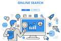 Online search results SEO concept flat line art vector icons