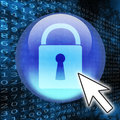 Online security digital concept with secure site padlock symbol and digital code Stock Photography