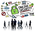 Online security protection internet safety business commuter concept Stock Images