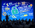 Online security protection internet safety business seminar conc concept Royalty Free Stock Images