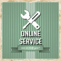Online service concept on green in flat design with icon of crossed screwdriver and wrench and slogan striped background vintage Stock Photo