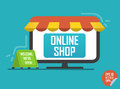 Online shop illustration. Laptop with awning for website or mobile application.