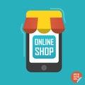 Online shop illustration. Smartphone with awning for website or mobile application.