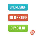 Online shop, online store and buy online buttons. Isolated buttons for website or mobile application.