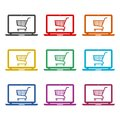 Online shop sign, Online shopping on laptop icon, color icons set Royalty Free Stock Photo