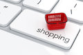 Online shopping concept basket on the computer keyboard Royalty Free Stock Photo